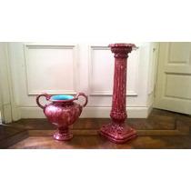 Antiguo Juego De Porcelana Marmolada Roja Vasija Y Columna