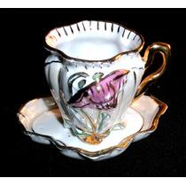 Antigua Taza De Colección Porcelana Pampa Art Nouveau Oro