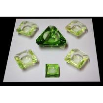 Lote Ceniceros Chicos Pequeños En Cristal Verde Agua