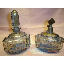 Dos Antiguas Piezas Perfume Toilette Esmaltado (f)