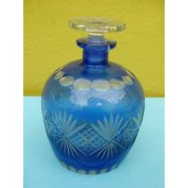 Antigua Licorera Botellón De Cristal Azul Y Transparente