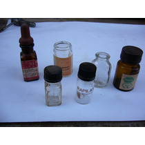 Seis Antiguos Frascos De Remedios