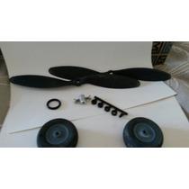 2 Ruedas + 2 Helices 8×3.8 +salva Helices (aeromodelismo)