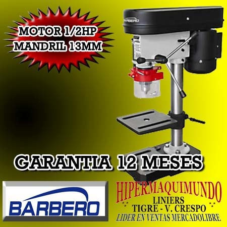Agujereadora Perforadora Taladro De Banco 13mm Barbero Tmb13