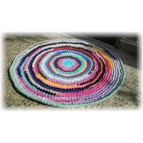Alfombra Crochet Totora 1 Metro De Diámetro