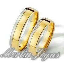 Par Alianzas Oro Blaco Y Oro Amarillo Con Circon-10 Gramos