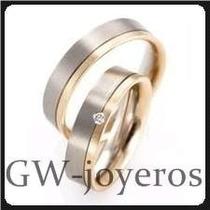 Alianzas De Oro 9,1grs El Par Con Diamante