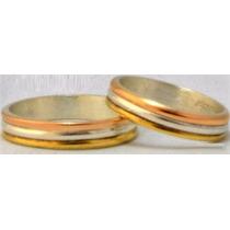 Par Alianzas Oro 18k/plata 925 Tricolor Exclusivas Garantia