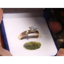 Anillo Compromiso Alianza Oro 18k Con Diamante Frances