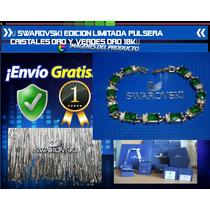 Swarovski Edicion Limitada Pulsera Oro 18k Piedras Verdes