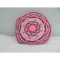 Almohadon Redondo Tejido Al Crochet- Artesanal