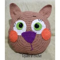 Almohadón Tejido Al Crochet Gato