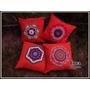 Almohadones Con Aplique Mandala Tejido En Crochet. Artesanal