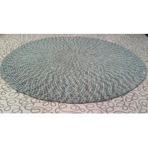 Alfombra Redonda Artesanal No Totora Tejida A Crochet 60 Cm