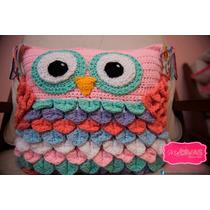 Almohadónes Buhos Crochet. Originales Y Coloridos!