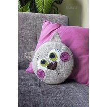 Almohadón Decorativo Tejido Crochet Gato