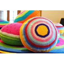Almohadones Redondos Coloridos Tejidos Al Crochet