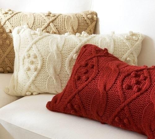Almohadones tejidos a dos agujas imagui - Cojines de lana hechos a mano ...
