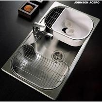 Bacha Cocina Johnson Acero Luxor Si85 A O Sta + Dosificador
