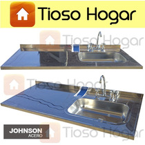 Mesada Johnson Acero Inoxidable 140 X 61 C Bacha P/ Griferia