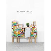 Muebles De Madera Diseñado De Colores Con Puertas Y Estante