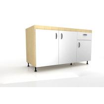 Muebles Cocina Bajo Mesada 1,2m Melamina Haya Y Blanco Cm03