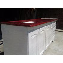 Bajo Mesada + Mesada Con Bacha De 1,60mts Mueble Blanco