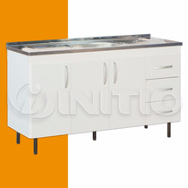 Bajo Mesada + Bacha Mueble Cocina 1.40mts 3 Puertas Mosconi