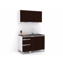 Mueble De Cocina 1,20 Wengue Mts Manijas J Aluminio Melamina
