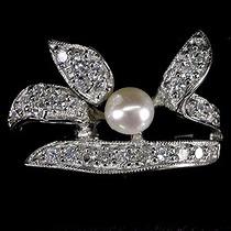 A315-17mm¡ Solo Divas! Anillo Plata Oro Perla Zirconias Blan