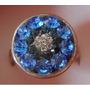 Anillo De Plata 925 Y Corconitas Circones Azul Y Cristal