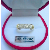 Fino Anillo De Plata Y Oro Con Piedras