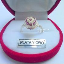 Anillo De Plata Y Oro Con Piedras Roja Frutilla