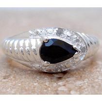 Z046-18mm- Maravilloso Anillo Plata925 Diamantes Zafiro Medi