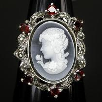 A073-19mm¡¡ Super Vintage!! Anillo Plata925 Marquesit Granat