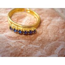 Anillo Enchapada En Oro Piedras Azules