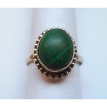 Antiguo Anillo De Plata Con Piedra Verde - #42