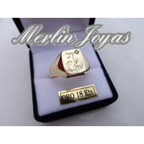 Anillo Oro 18k -sello Inicial Grabada 5 Gramos - M. J. -
