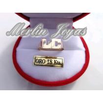 Anillo Oro 18k Doble Inicial- 2,5 Gramos - M. J. -