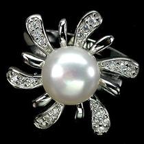 A152-19,5mm¡ Solo Divas! Anillo Plata Oro Perla Zirconias Bl