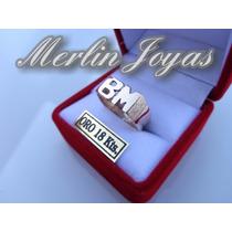 Anillo Doble Inicial De Oro 18k - 4.5 Gramos - M. J. -