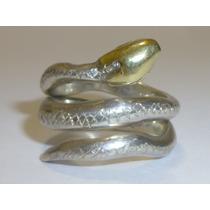 Anillo Serpiente Sellado Plata 950/ Oro 18k,15 Gramos