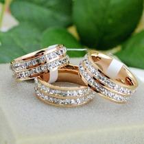Anillo Enchapado En Oro 14k Con Diamantes Imitacion Blancos