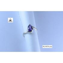 Anillo Con Piedra Violeta De Plata 925 Y Detalles Oro Diseño