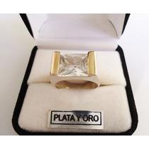 Anillo Plata Y Oro Piedra Cúbic Espectacular!!!