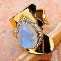 R259-18mm Anillo Plata Laminado Oro Amar C Piedra De La Luna