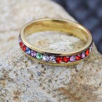 Hermoso Anillo Enchapado En Oro Con Cristales Multicolores