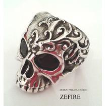 Anillo Plata 925 Calavera Con Granates Naturales Skull Ring