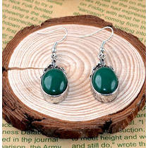 Aros Plata Tibetana Piedra Verde