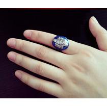 Anillo Vampires Diary! Azul De Zinc Con Baño Color Plata